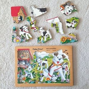 Fisher-Price Vintage Dog And Puppies Wooden Puzzle